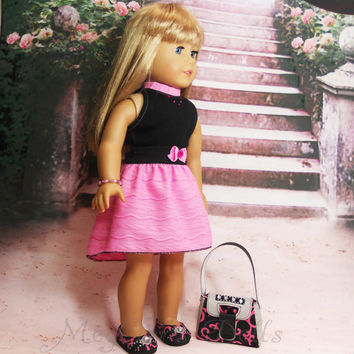 American Girl Doll Dress Turtleneck Dress in Black and Pink