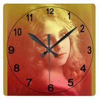 Beautiful Square Clock with Vintage Image of Girl