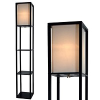 "Floor Lamp with Shelves by Light Accents - Shelf Floor Lamp - 3 Shelf Lamp Standing Floor Lamp with Shelves 63"" Tall Wood with White Linen Shade - Lamps for Living Room (Black) Black"