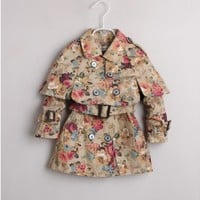 Vintage Inspired Girls Clothes floral little girls Khaki Cotton Trench Coat | Vindie Baby