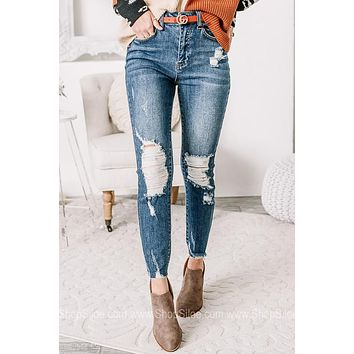On Your Mind Distressed Skinny Jeans