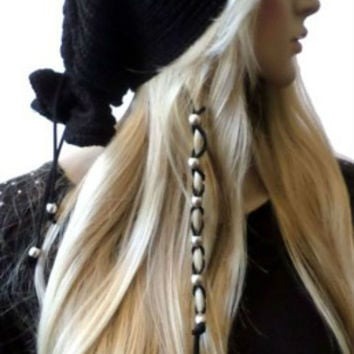 Metallic Silver or Gold Bead Black Suede Leather Hair Ties, Hair Wrap, Jewelry, Ponytail, Leather Bead Braided Hair Ties