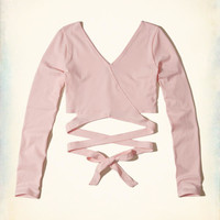 Girls Wrap V-Neck Crop Top | Girls Tops | HollisterCo.com