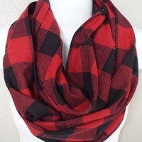 Red & Black Buffalo Plaid Infinity Scarf Womens Plaid Holiday Scarves Girls Plaid Fashion Circle Scarf Red Plaid Gift for Her Flannel Plaid