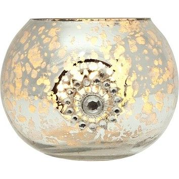 Vintage Bejeweled Mercury Glass Glass Candle Holder (2.5-Inch, Audrey Design, Silver) - For Use with Tea Lights - For Home Decor, Parties, and Wedding Decorations