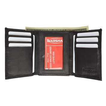 Mens Genuine Leather Card ID Key Holder Trifold Wallet 2555