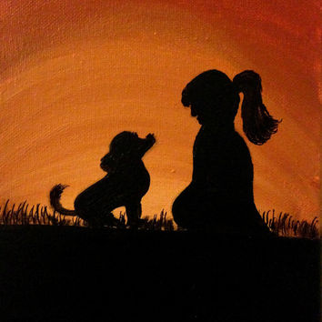 Dog lover artwork Acrylic painting Canvas art Custom dog painting Pet Dog room decor Dog quotes Dog lover gift Dog and girl Silhouette