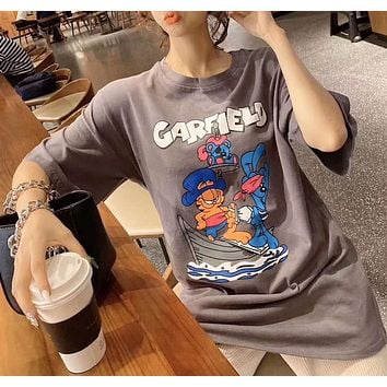Woman Leisure Fashion Letter Coffee Cat Personality Printing  Loose Crew Neck Short Sleeve Motion Tops Skirt