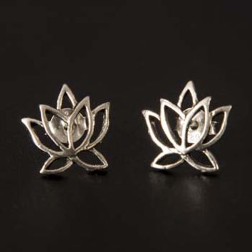 Lotus Flower Sterling Studs