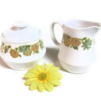 1960s - 70s Cream and Sugar Set, Noritake Progression China, Sunny Side Sugar Bowl, Creamer Set