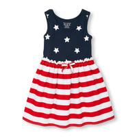 Toddler Girls Americana Sleeveless Stars And Stripes Knit-To-Woven Dress | The Children's Place