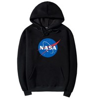 NASA Letters Printed Long Sleeve Hooded Sweatshirt