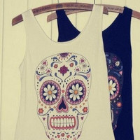 White Color Vest with Skull and Floral Pattern
