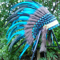 Blue small length Indian headdress, Native American Warbonnet, Chief Indian Hat, Edc, Edm, Rave, Burning man, wonderland