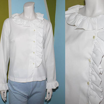 Vintage 70s WHITE RUFFLE BLOUSE / Long Sleeve Button Down Shirt / Ruffle Collar, Front / Groovy, Boho, Folk / Large, xl