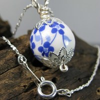 Cobalt Blue Painted White Porcelain Bead Necklace, Silver Plated Chain