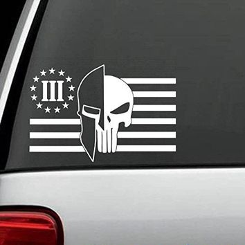 2-Count Molon Labe Helmet Punisher Three Percent Flag Decal Sticker 3.0 Inches x 4.50 Inches Bluegrass Decals