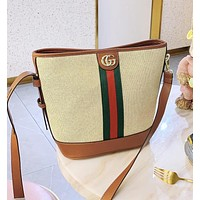 GUCCI Fashion Women Shopping Bag Leather Bucket Bag Shoulder Bag Crossbody Satchel