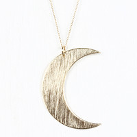 Brushed Metal Crescent Necklace