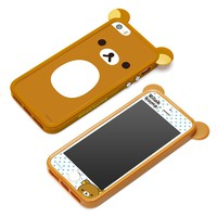 San-X Characters TPU Bumper-Case for iPhone5/5s with Screen Protector Accessory Set (Rilakkuma)
