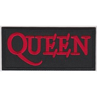 Queen Iron-On Patch Rectangle Red Letters Logo