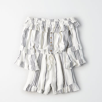 AE Off-The-Shoulder Double-Ruffle Romper, White