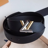 Louis Vuitton LV High Quality Woman Men Fashion Smooth Buckle Belt Leather Belt