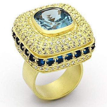 Gold Ring Set LOA860 Matte Gold Brass Ring with Synthetic in London Blue