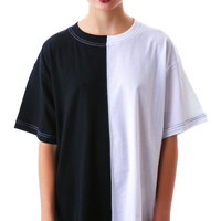 Long Clothing 2 Tone Oversized Tee Black/White One