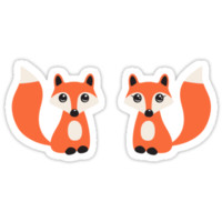 Cute fox stickers, cartoon illustration of a boy and girl by MheaDesign