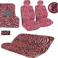 15 Pieces Safari Zebra Pink and Black Animal Print Auto Interior Gift Set with Side Opening for ARM Rest