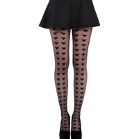 Black Big Hearts Sheer Tights