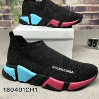 "Balenciaga ""Socks boots"" Woman Men Trending Breathable Sneakers Running Shoes B-CSXY Colorful soles"