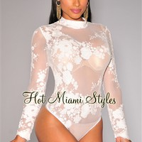 White Floral Embroidered Lace Long Sleeves Bodysuit