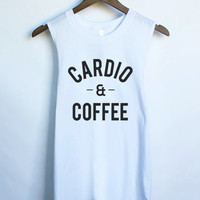 Cardio and Coffee Muscle Tank Top in White