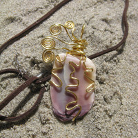 Wire Wrapped Purple Seashell Pendant