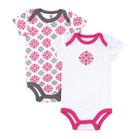 Yoga Sprout Girls 2 Pack Pink/Gray Embroidered Medallion Bodysuit and Printed Bodysuit