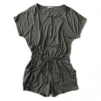 Charcoal Button Down Romper