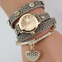 Imitation snake skin wrap watch
