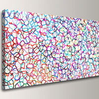 """Large Abstract Panoramic Wall Decor - Colorful Modern Canvas Print -  27x54 Giclee Print in Rainbow Colors,  """"Coalescence"""""""