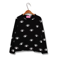 Fashionable Scoop Neck Eyes Printing Long Sleeve Casual Fleece T-Shirt For Women