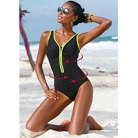 One Piece Padded Plus Size Swimsuit with Zipper