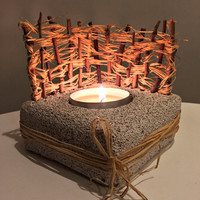 Natural Home Decor/ Pumice Stone Candle Holder/ Tree Branch Decor/Natural Gift/Natural Raffia Fence/ Candle Holder