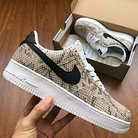 Nike Air Force One Fashion Serpentine low-top casual sneakers for both men and women