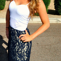 GREAT ESCAPE NAVY LACE MAXI SKIRT