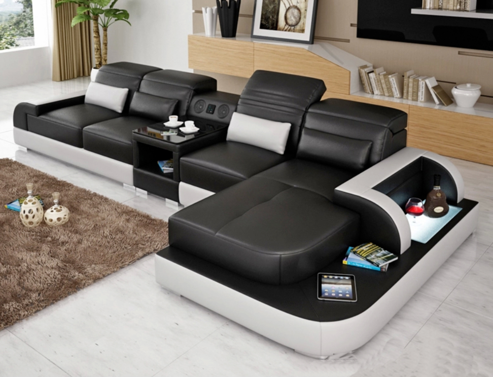 Image of Contemporary Living Room Italian Leather Sectional Sofa