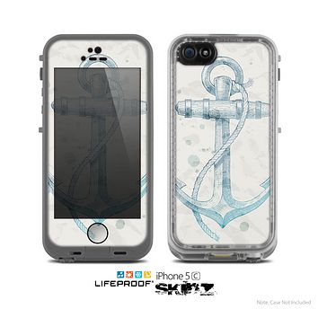 The Vintage White and Blue Anchor Illustration Skin for the Apple iPhone 5c LifeProof Case