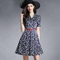 Women Dress Floral Print Work Business Casual Party Vestidos Free Shipping Long Maxi Dresses 165