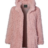LE3NO Womens Oversized Long Cozy Faux Fur Hoodie Coat Jacket with Pockets