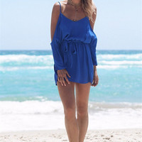 Blue Cold Shoulder Drawstring Waist Romper